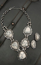 Blazin Roxx Silver with Large Ivory Stones Jewelry Set