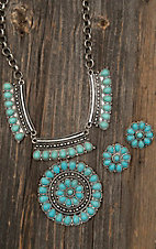 Blazin Roxx Silver with Turquoise Stone Medallion Necklace and Earring Jewelry Set