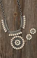 Blazin Roxx Silver with Ivory Stone Medallion Necklace and Earring Jewelry Set
