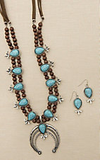 Blazin Roxx Brown with Turquoise Beading and Squash Blossom Detail Jewelry Set