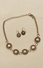 Blazin Roxx Antique Silver Medallion Choker Necklace and Earring Jewelry Set