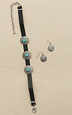 Blazin Roxx Black Leatherette with Silver and Turquoise Medallion Details Jewelry Set