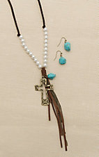 Blazin Roxx Brown Leather with Pearls, Turquoise, Cross, and Tassel Details Jewelry Set