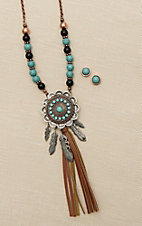 Blazin Roxx Copper with Turquoise and Black Beading and Silver Medallion with Feathers Jewelry Set