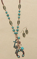Blazin Roxx Copper with Turquoise Beading Jewelry Set