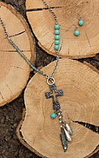 Blazin Roxx Silver with Turquoise Stones and Cross Charms Jewelry Set