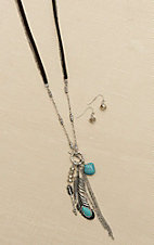 Blazin Roxx Silver with Brown Leather Double Chain, Feather and Stone Details Jewelry Set