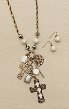 Blazin Roxx Brass with White Stones and Cross Charms Jewelry Set