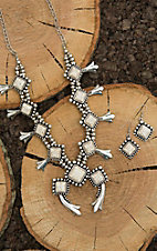 Blazin Roxx Silver with White Stones Squash Blossom Jewelry Set