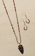 Blazin Roxx Copper with Multi Colored Beading and Arrowhead Pendant Jewelry Set