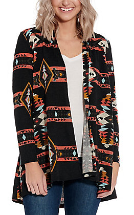 R. Rouge Women's Black with Pink and Turquoise Aztec Long Sleeve Cardigan