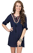 Umgee Women's Midnight Navy Embroidered Lace Up 3/4 Sleeve Dress