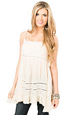 Vintage Havana Women's Ivory with Crochet Ruffle Sleeveless Fashion Tank Top