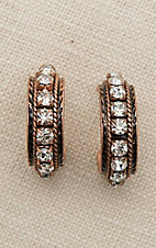 Blazin Roxx Copper with Large Rhinestones Hoop Earrings
