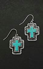 Blazin Roxx Antique Silver with Turquiose Stone Cross Dangle Earrings