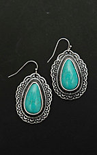 Blazin Roxx Antique Silver with Turquiose Stone Drop Dangle Earrings