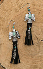 Blazin Roxx Antique Silver with Turquiose Details and Black Tassel T-Bird Dangle Earrings
