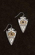 Blazin Roxx Silver Arrowhead with Copper Details Dangle Earrings