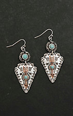 Blazin Roxx Antique Silver with Copper and Turquiose Details Arrowhead Dangle Earrings