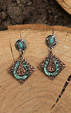 Blazin Roxx Antique Silver with Copper and Turquiose Details Dangle Earrings