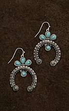Blazin Roxx Silver with Squash Blossom and Turquoise Stones Earrings