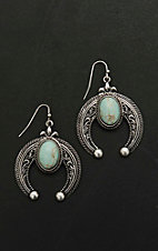 Blazin Roxx Antique Silver with Turquoise Stone Crescent Dangle Earrings