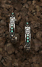 Blazin Roxx Antique Silver with Turquoise Stones Hoop Earrings