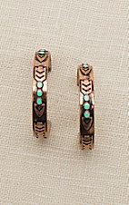 Blazin Roxx Copper with Turquoise Stones Hoop Earrings