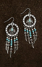 Blazin Roxx Circle with T-Bird and Feather Dangles Earrings