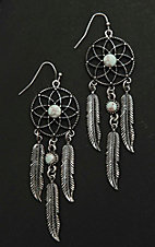 Blazin Roxx Antique Silver with White Stone Details Dream Catcher Dangle Earrings