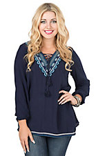 Vintage Havana Women's Navy with Blue and White Embroidery Lace Front Long Sleeve Fashion Top