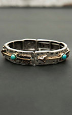 Blazin Roxx Antique Silver with Turquoise Stones and Gold Arrow Print Elastic Bracelet