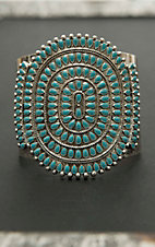 Blazin Roxx Antique Silver with Turquoise Stones Tribal Cuff Bracelet