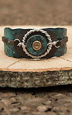 Blazin Roxx Brown Leather with Turquoise Patina Cuff and 12 Gauge Shell Detail Bracelet