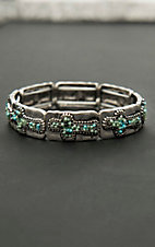 Blazin Roxx Antique Silver with Turquoise Cross Print Elastic Bracelet