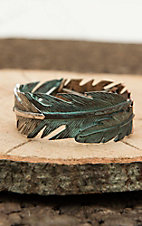 Blazin Roxx Silver with Turquoise Patina Feather Elastic Bracelet