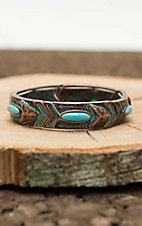 Blazin Roxx Copper wtih Turquiose Stones and Patina Arrow Print Elastic Bracelet