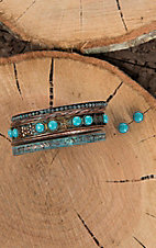 Blazin Roxx Antique Copper with Turquoise Details Jewelry Set
