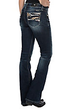 Miss Me Women's Animal Print Pocket Boot Cut Jeans