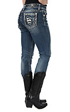 Miss Me Women's Medium Wash Distressed Crystal Open Pocket Straight Leg Jeans