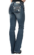 Miss Me Women's Medium Wash Zigzag Colorful Stitched Pocket Boot Cut Jeans