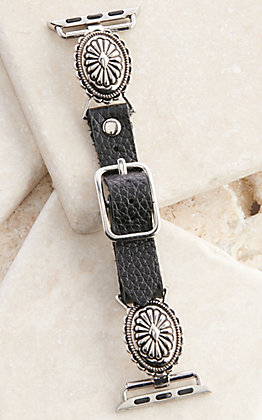 Blazin Roxx Black Leather with Silver Concho 38/40MM Watch Band