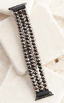 Blazin Roxx Black Shiny Beads Three Strand 42/44MM Watch Band