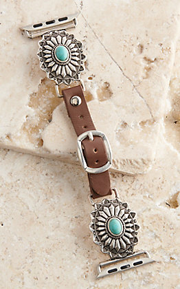 Blazin Roxx Leather Turquoise Flower Concho 38/40MM Watch Band