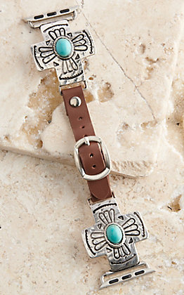 Blazin Roxx Leather Turquoise Stone Cross 42/44MM Watch Band