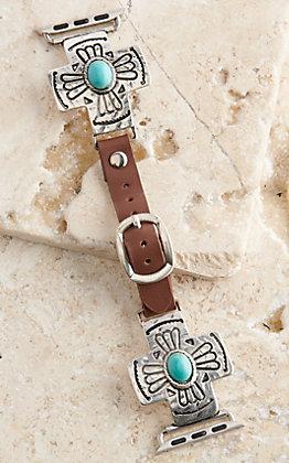 Blazin Roxx Leather Turquoise Stone Cross 38/40MM Watch Band