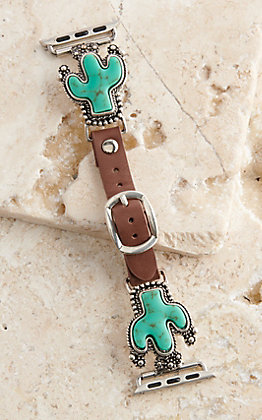Blazin Roxx Leather Turquoise Cactus Concho 38/40MM Watch Band