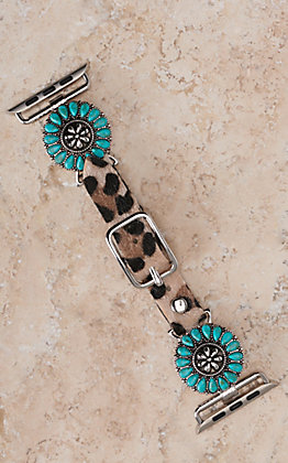 Blazin Roxx Leopard with Turquoise Flower Concho 38/40MM Watch Band