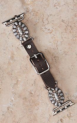 Blazin Roxx Leather with White Flower Concho 42/44MM Watch Band
