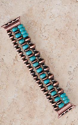 Blazin Roxx Copper and Turquoise Beads Three Strand 42/44MM Watch Band